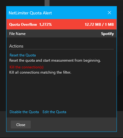Quota alert window